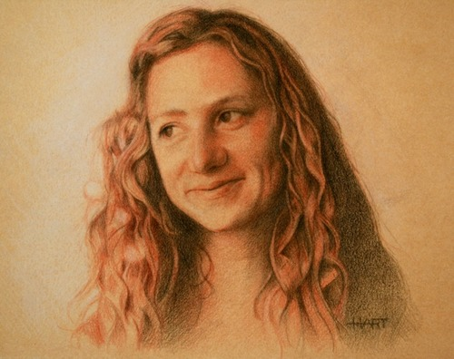 © 2012 Aron Hart, Portrait of Shelly 2, Three colored chalk on toned paper, 6 x 8 inches.