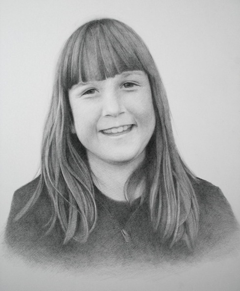 © 2013 Aron Hart, Portrait of Emily, Graphite on bristol, 14 x 17 inches.