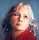 © 2009 Aron Hart, Portrait of Crystal, Oil on Canvas, 12 x 12 inches