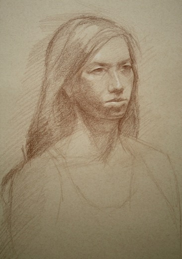 © 2013 Aron Hart, Portrait of Anna, Sepia pencil on toned paper
