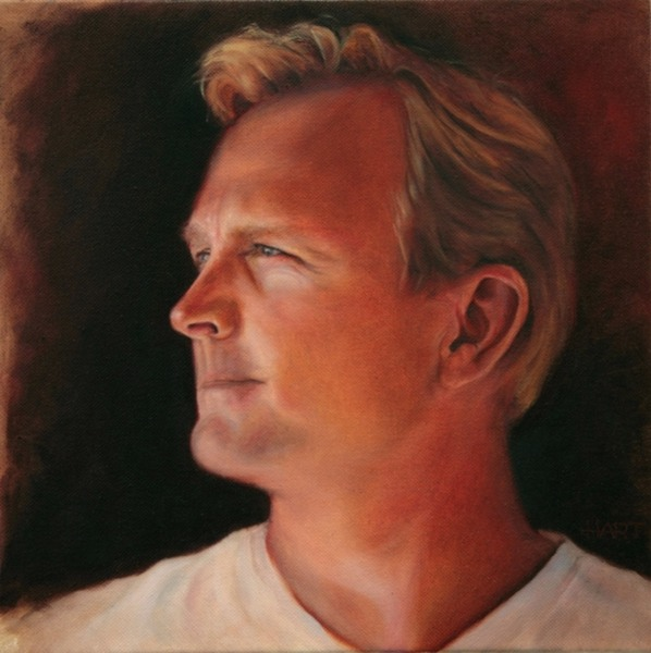 © 2012 Aron Hart, Portrait of Mike, Oil on Canvas, 12 x 12 inches.