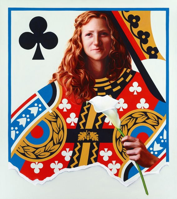 © 2013 Aron Hart, Queen of Clubs, Oil on Canvas, 32 x 36 inches.