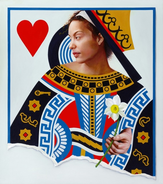 © 2011 Aron Hart, Queen of Hearts, Oil on Canvas, 32 x 36 inches.