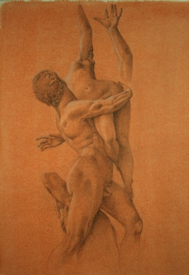 © 2009 Aron Hart, Rape of the Sabine, graphite and white chalk on toned paper