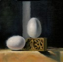 © 2011 Aron Hart, Square Eggs, Oil on Linen mounted to board, 8 x 8 inches.
