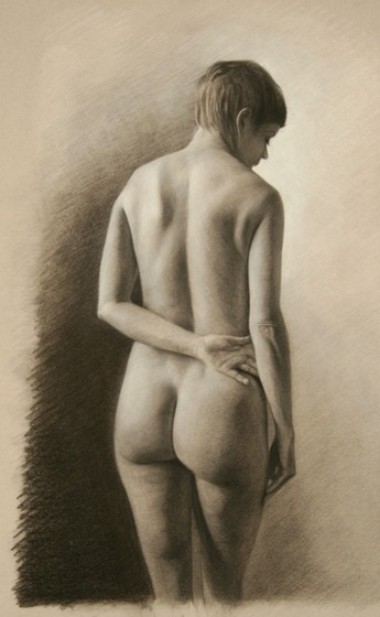 © 2012 Aron Hart, Study for Divine Beauty, charcoal and white chalk on toned paper
