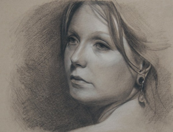 © 2013 Aron Hart, Portrait of Crystal, charcoal and white chalk on toned paper