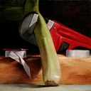 © 2011 Aron Hart, How To Fix A Leek, Oil on Linen mounted to board, 8 x 8 inches.