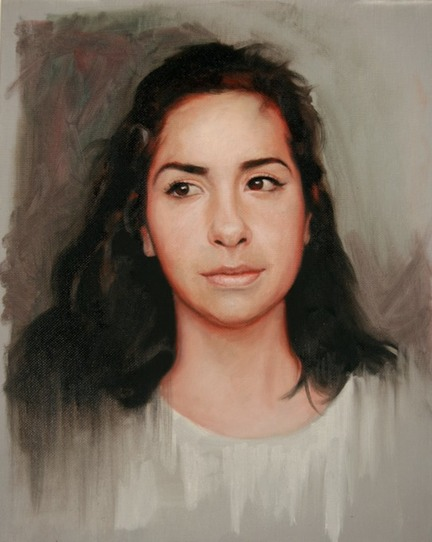 © 2014 Aron Hart, Portrait of Marina, Oil on canvas board
