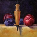 © 2011 Aron Hart, Plum Bob, Oil on Linen mounted to board, 8 x 8 inches.