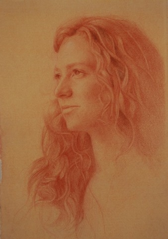 © 2012 Aron Hart, Portrait of Shelly, sanguine on toned paper