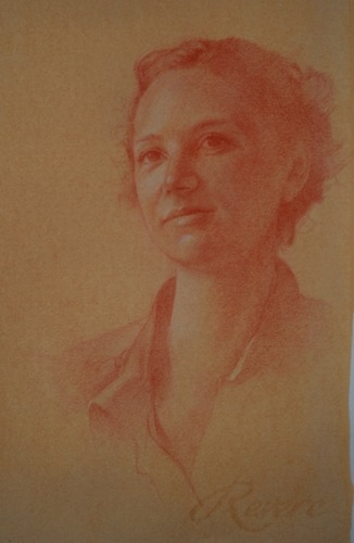 © 2013 Aron Hart, Portrait of Shelly, sanguine and white on toned paper